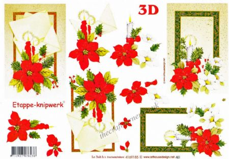 Candles, Poinsettia & Christmas Rose Flower Designs 3d Decoupage Sheet